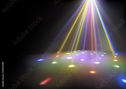Fototapeta Disco Lights Background with Spotlights Effect - Abstract Illustration, Vector