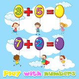 Kids adding numbers on balloons