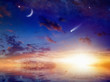 Bright comet, stars and crescent in sunset sky with reflection in sea