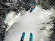 skier and snowboarder on forest track