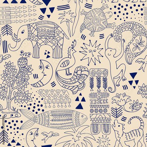 Materiał do szycia Abstrakcja bezszwowe. Monochromatyczne tła tropic. Ręcznie rysowane tło z ozdobne zwierzęta i elementy geometryczne