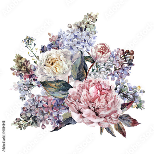 Watercolor Peonies and Lilac Bouquet - 141134345