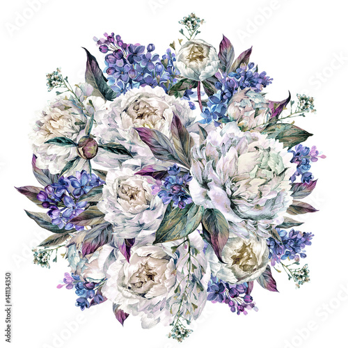 Watercolor Peonies Round Bouquet - 141134350