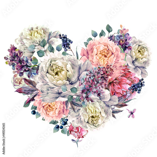 Watercolor Heart made of Peonies and Lilac - 141134365
