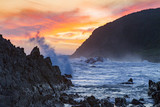 Surf, Rocks and Spray at the mouth of the Storms River in Tsitsikamma Nature Reserve in South AFrica