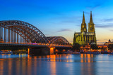 Cologne city skyline at night, Cologne, Germany - 141149307