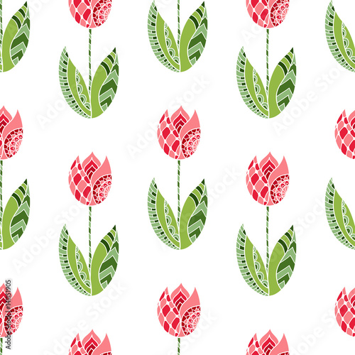 Fototapeta Seamless pattern with hand drawn ornamental tulip flowers on white background.