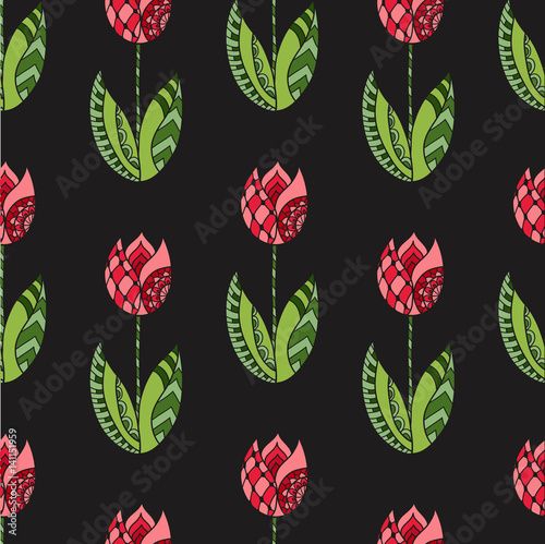 Seamless pattern with hand drawn ornamental tulip flowers on black background.