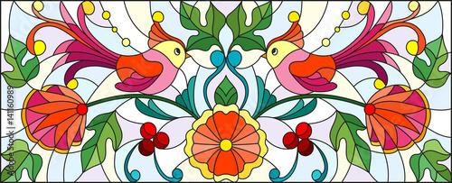 ilustracja-w-witrazu-projektuje-z-para-abstrakcjonistyczni-ptaki-kwiaty-i-wzory-na-lekkim-tle-horyzontalny-wizerunek