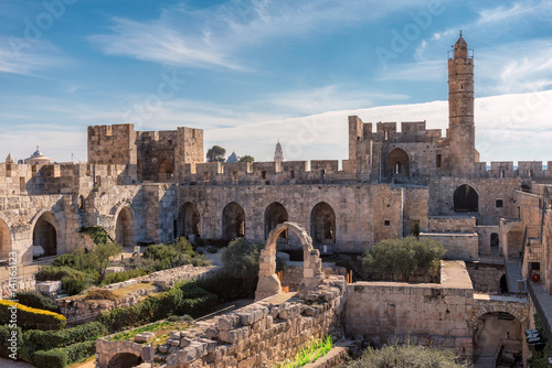 The Tower of David in ancient Jerusalem Citadel, near the Jaffa Gate in Old City of Jerusalem, Israel.