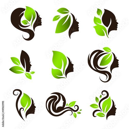 Woman Natural Beauty Hair Spa Salon Logo Design Set - 141163998