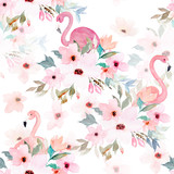 Watercolor seamless pattern. Floral print with flamingo - 141164151
