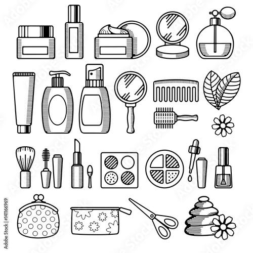 Cosmetics icon set