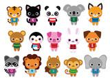 Vector Set Of Cute Cartoon Animals Isolated