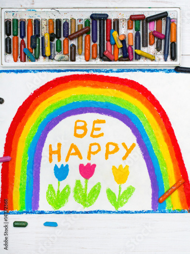 Poster colorful drawing: beautiful rainbow and words BE HAPPY