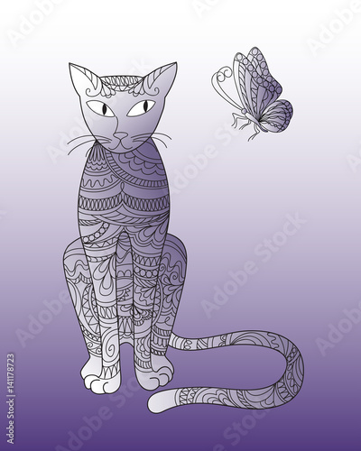 zen patterned cat with butterfly