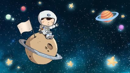 Niño astronauta sentado en un planeta con fondo estrellado