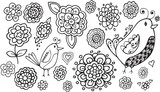 Doodle Flowers and Birds Vector Illustration Art