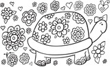 Doodle Turtle and Flowers Vector Illustration Art