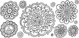 Doodle Flowers Vector Illustration Art