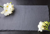 Freesia flowers on black backgrounds.Spa concept