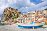 Beach of Scilla with Castello Ruffo, Calabria, Italy