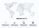 World Map and Connection., vector illustration