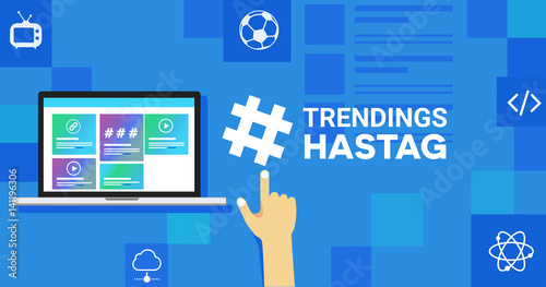 the hastag sign of trending topic and viral marketing in internet and social media