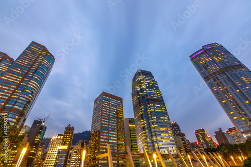 Poster Perspective view of Hong Kong skyscrapers in Central District at dusk in Hong Kong island
