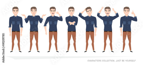 Set of emotions for business man.