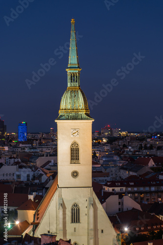 Poster View of the tower of the cathedral in the historic center city Bratislava Slovak