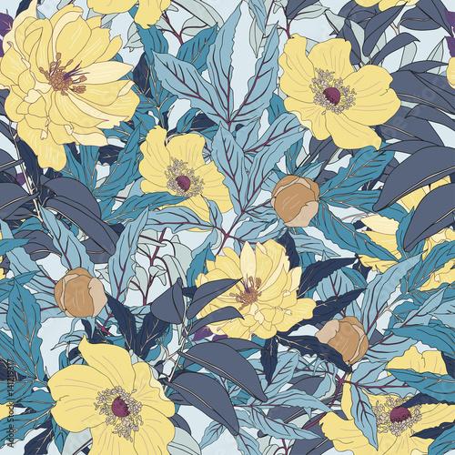 Fototapeta yellow vector seamless botanical