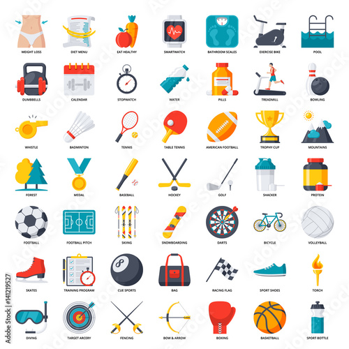Fitness, sport and health vector set icon