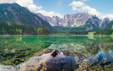 Mountain lake in the morning, Laghi di Fusine in the Julian Alps, Italy