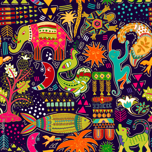 Cotton fabric Abstract seamless pattern. Colorful tropic background. Hand drawn backdrop with decorative animals and geometric elements