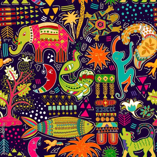 Materiał do szycia Abstrakcja bezszwowe. Kolorowe tło tropic. Ręcznie rysowane tło z ozdobne zwierzęta i elementy geometryczne