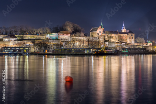 Night view of the Akershus Fortress in Oslo, Norway