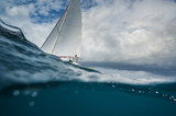 Sailing boat from the underwater view - 141239938