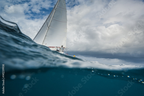 Sailing boat from the underwater view