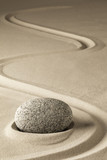 zen meditation stone and sand, a spiritual japanese rock garden. Abstract harmony and balance concept for purity concentration spa relaxation...