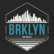 Brooklyn New York graphic, t-shirt design, tee print, typography, emblem.