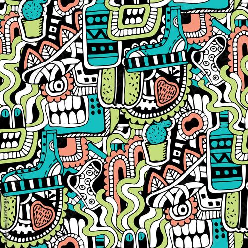 Graffiti bezszwowa tekstura z ogólnospołecznymi medialnymi znakami i innymi błyszczącymi ikonami. Ilustracja wektorowa z buta, tv, butelka, jedzenie, głowa potworów, liści