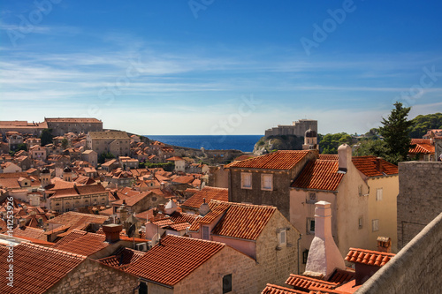 A view of Old Town Dubrovnik and Fort Lovrijenac in Croatia Poster