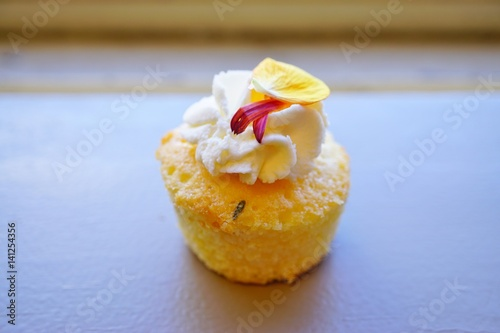 Poster Mini lemon rosemary cupcake with edible flower petals and white buttercream fros