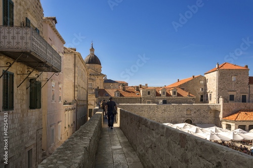 Walking along the Dubrovnik City Walls in Croatia Poster