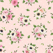 Vector seamless pattern with pink roses, lisianthus and anemone flowers on a pink background.