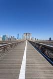 New York City's pedestrian walkway on the Brooklyn Bridge.