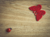 Butterfly and ladybug decoration on a wooden background.