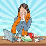 Fototapety Pop Art Business Woman Sneezing at Work. Girl Feeling Sick. Vector illustration