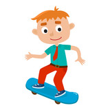 Vector illustration of boy on skateboard in isolated on white